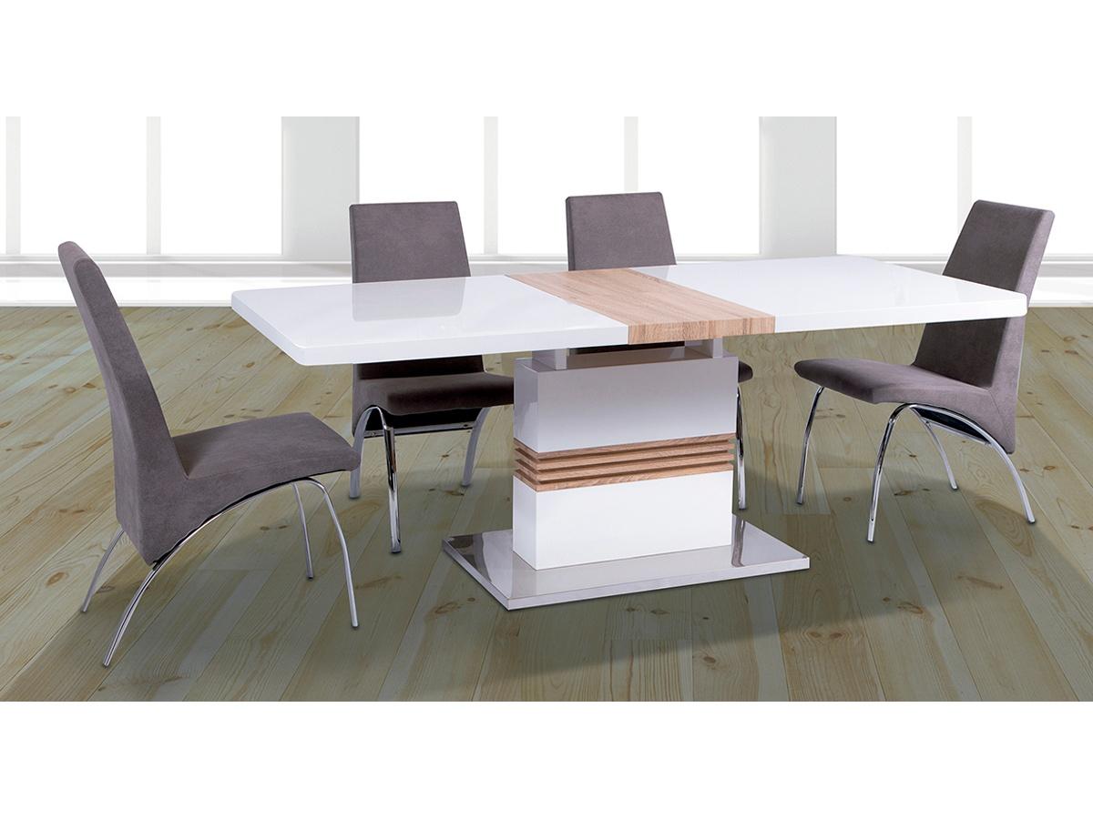 Conjunto mesa extensible y sillas con pata curva cromada