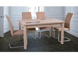 Conjunto mesa comedor con cristales y con sillas color ceniza