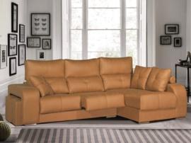 Sofá chaisselongue con 2 pouffs, asientos deslizantes y cabeceros reclinables.