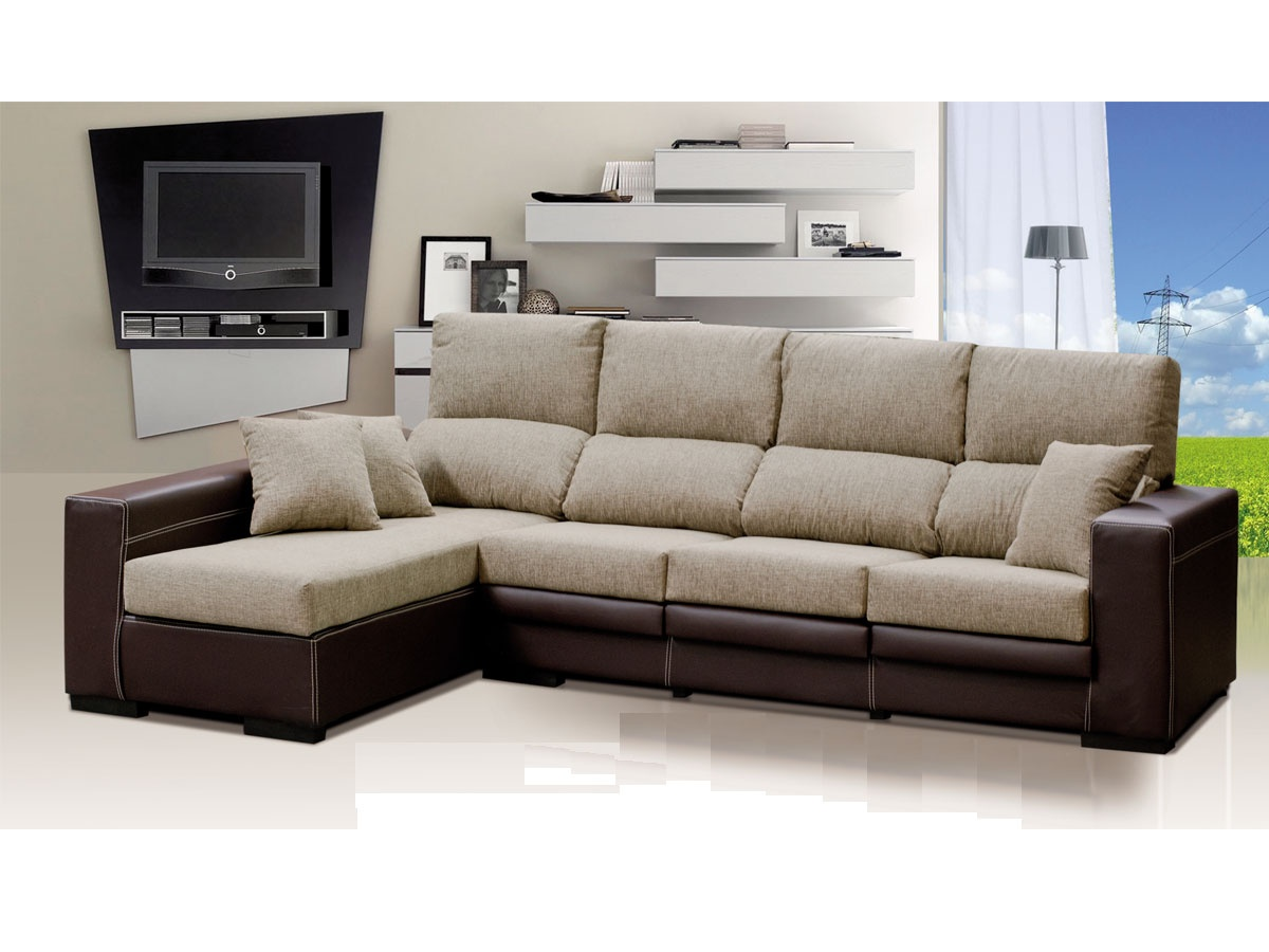 Sof con chaise longue de 4 plazas sof asientos con 4 for Cheslong dos plazas