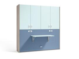 Cama abatible con armario de 4 puertas y escritorio plegable