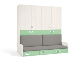Cama abatible con armario de 4 puertas + Sofa con cajonera.
