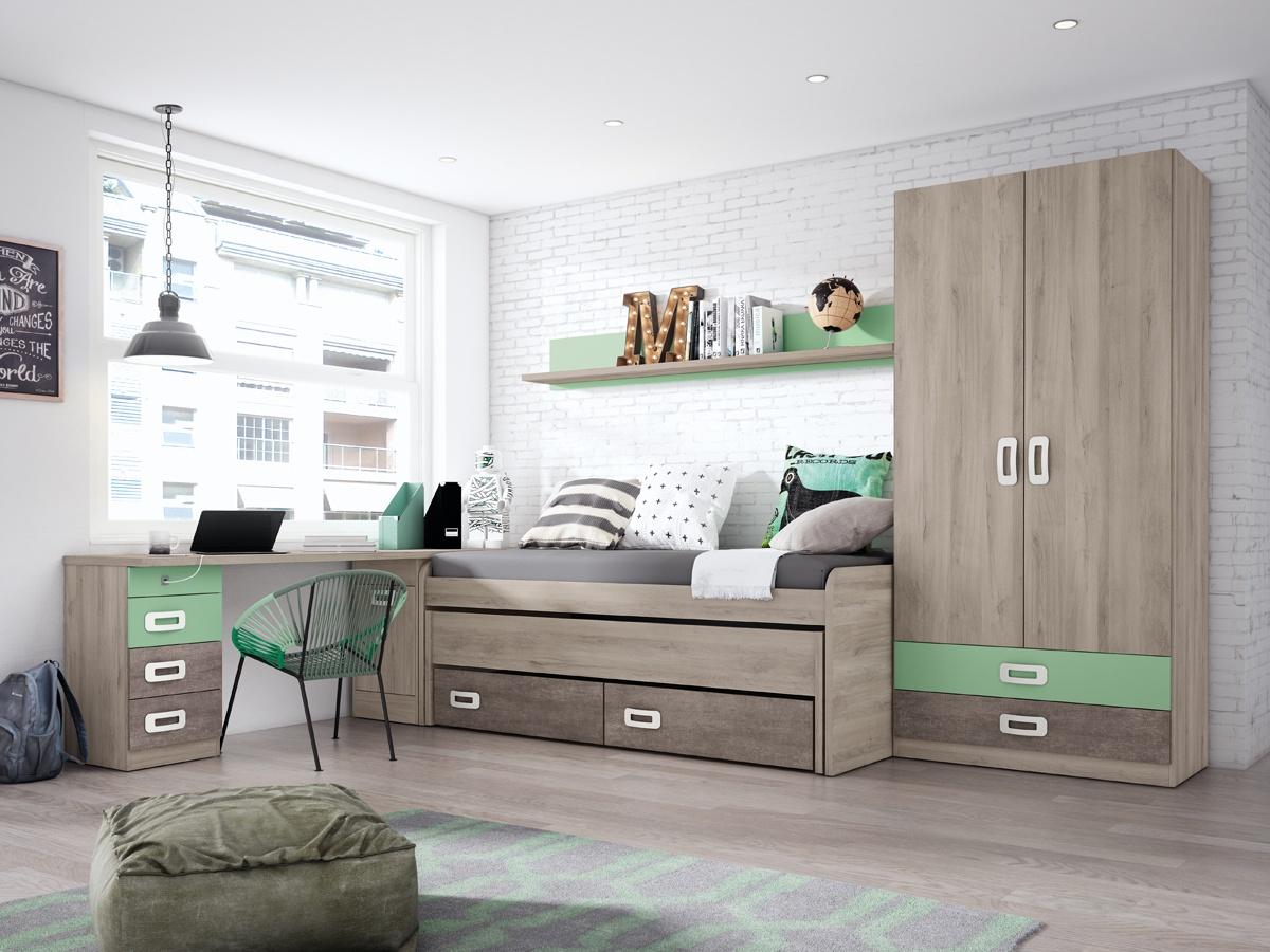 Dormitorio juvenil con arc n zapatero habitaci n completa for Como decorar una habitacion pequena juvenil