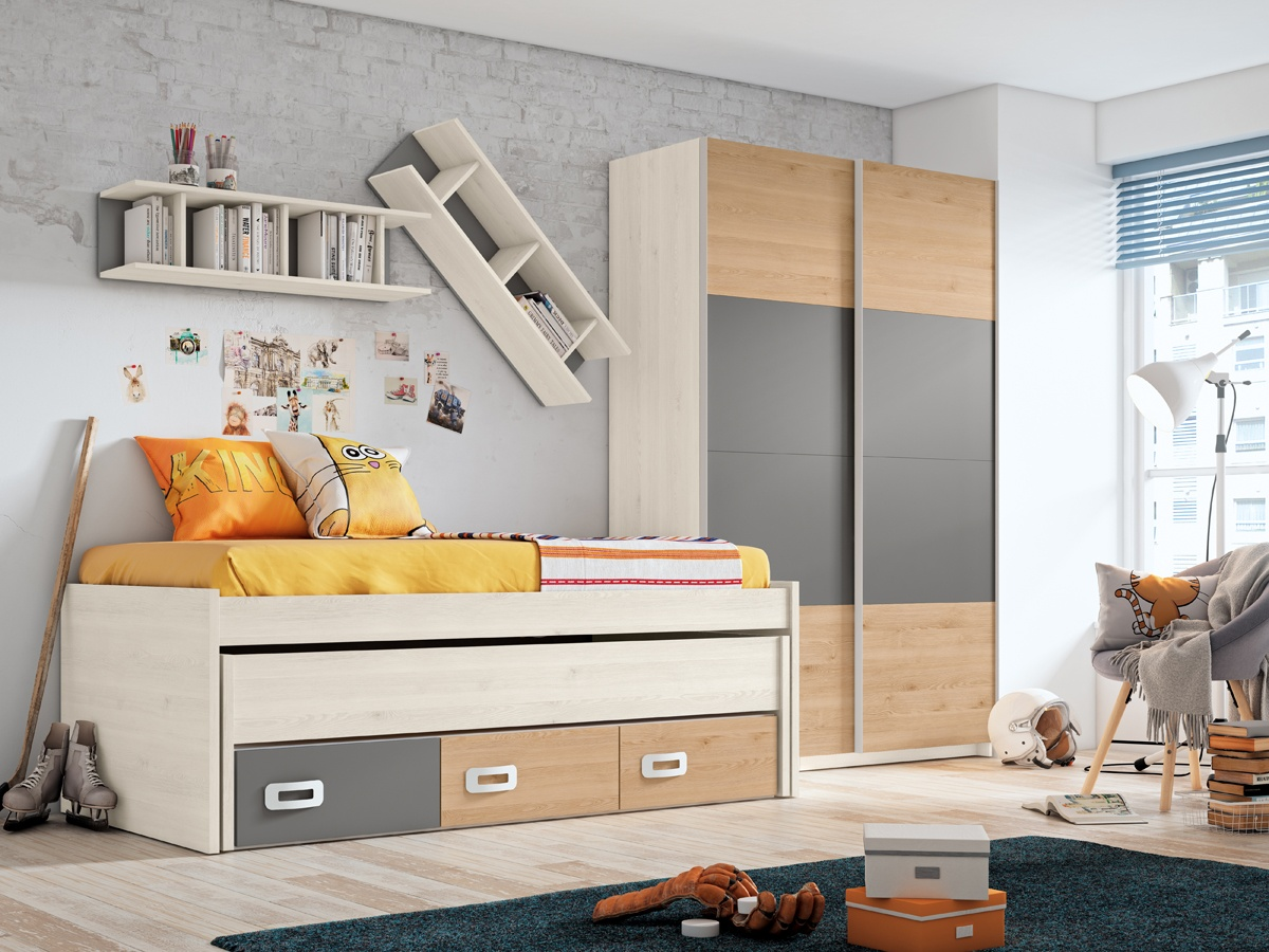 Habitacion Juvenil De Cama Doble Por Piezas Dormitorio Compacto
