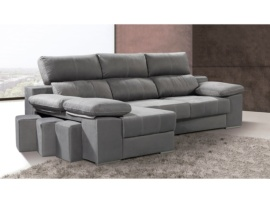 Sofá con chaise longue y pouffs