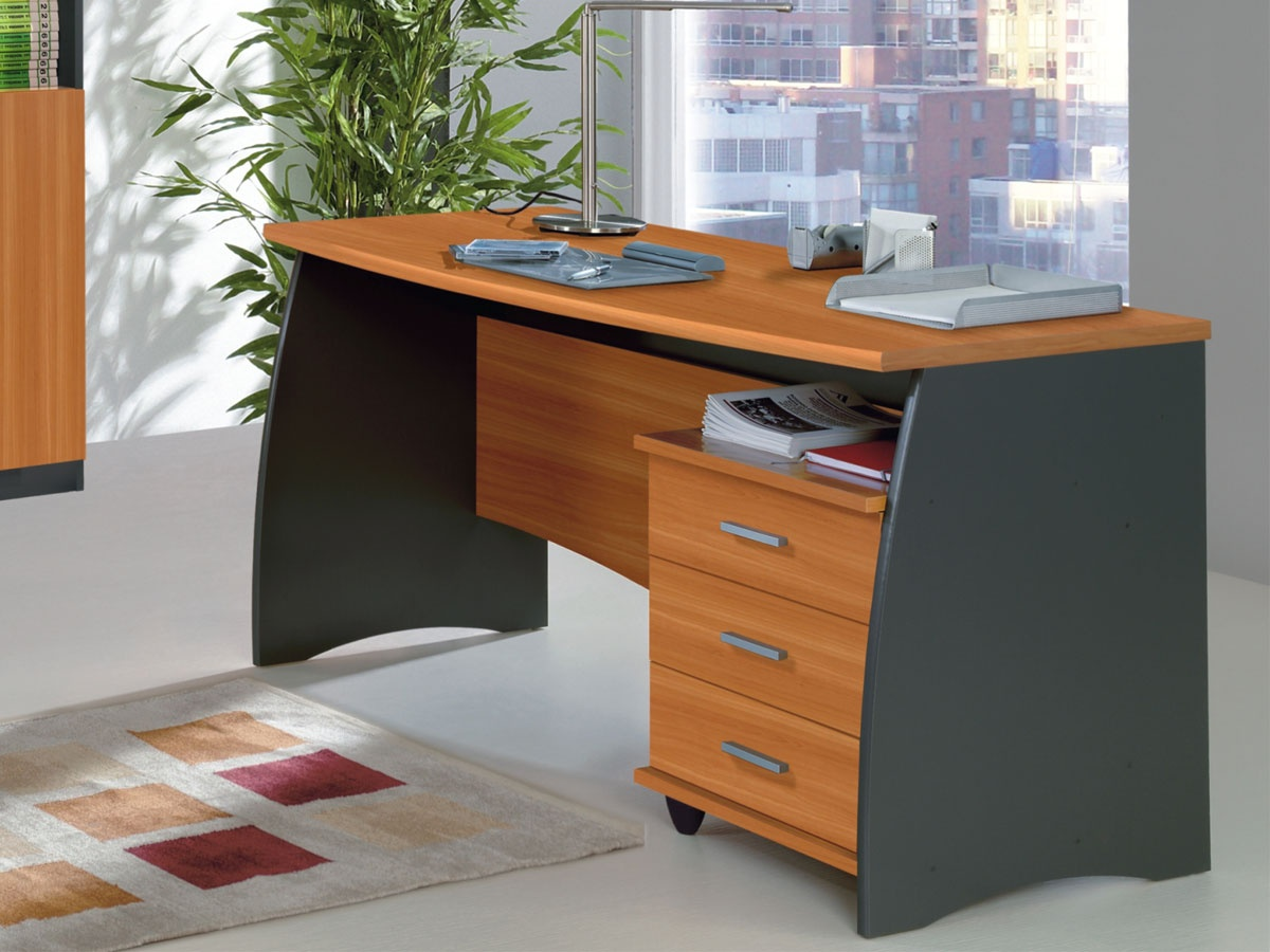 Mesa ordenador color cerezo, mesa escritorio ordenador con cajones