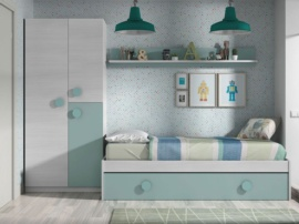 Dormitorio juvenil con detalles verdes