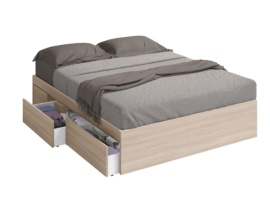 Bañera cama con cajones laterales roble