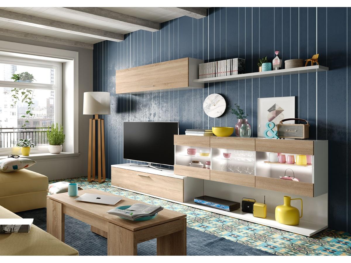 apilable de salón, apilable de comedor, mueble apilable, mueble apilable de salón, mueble apilable en roble, mueble apilable con frentes blancos, mueble de salón roble y blanco, mueble modular de salón, mueble práctico y estilo, mueble de salón