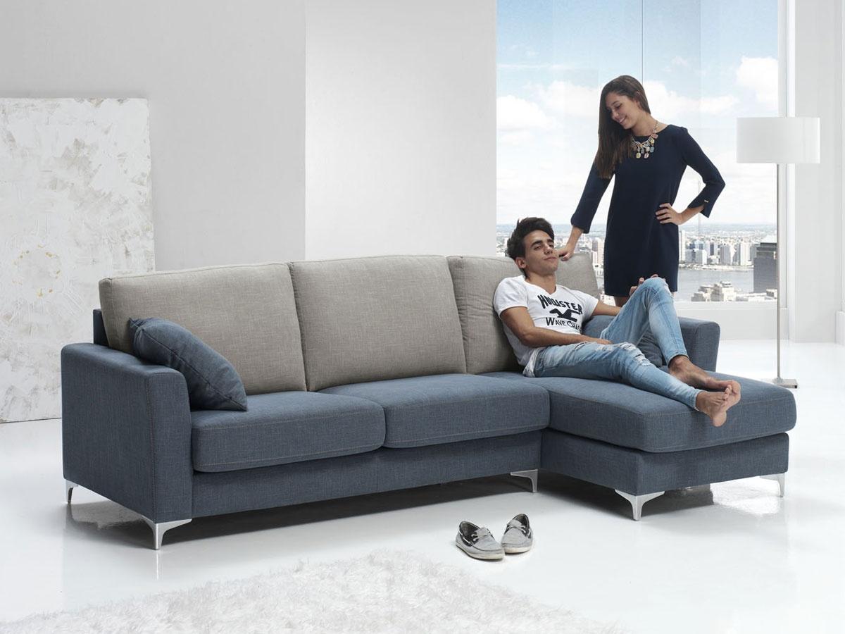 Sofa chaise longue tapizado, comprar sofá de diseño actual