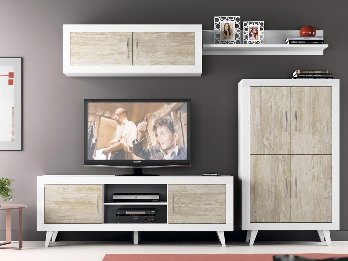 Mueble de sal n moderno con estantes para decoraci n zora - Muebles salon modernos ...