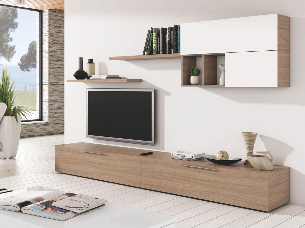 Salón apilable blanco y roble, muebles de comedor madera 257 cms