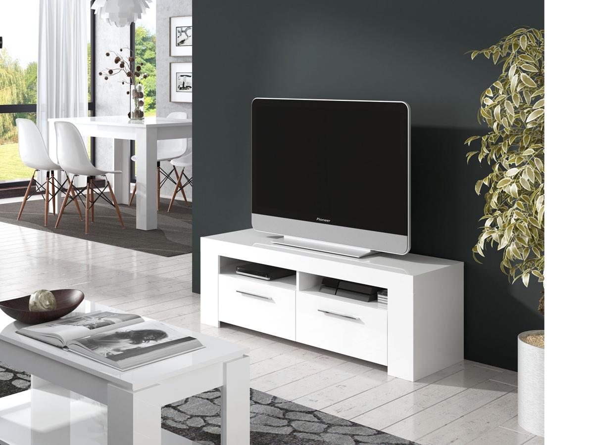 Mesa tv color blanco for Mesas de tv con ruedas