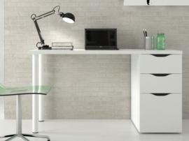 Mesa de estudio blanca con 3 cajones