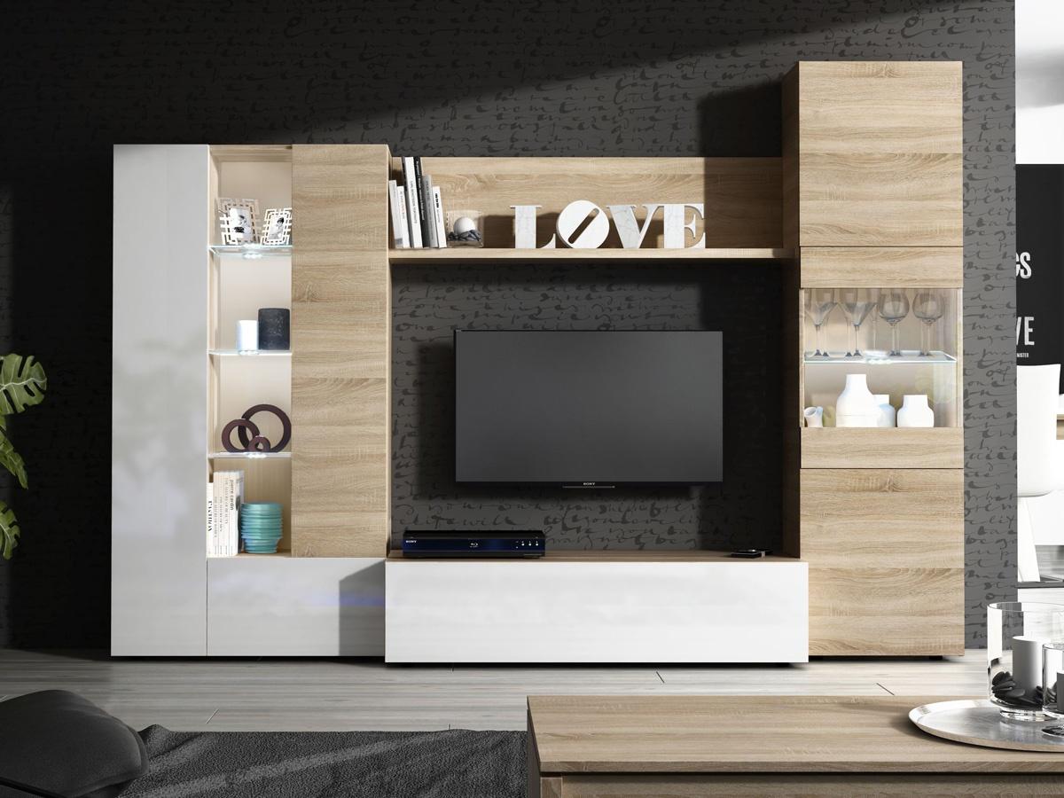 muebles de salón apilables, muebles para salón, composición de muebles de salón, composición muebles salón, composición muebles roble, composición muebles con vitrina, muebles de salón con vitrinas, mueble de tv roble, composición salón