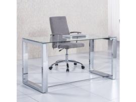 Mesa de despacho cromada con cristal templado