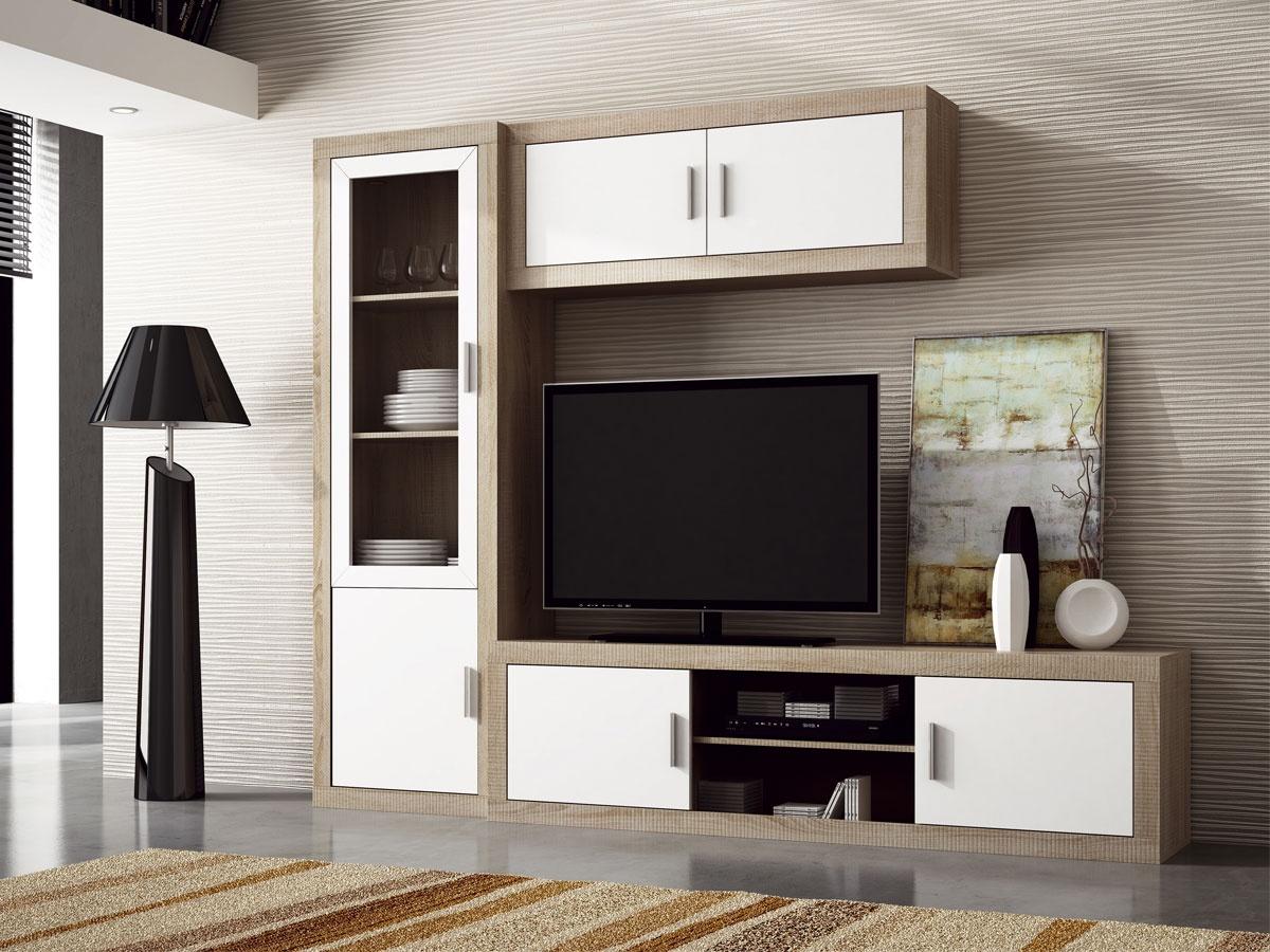 Mueble salón comedor modular diseño nórdico moderno color blanco y ...