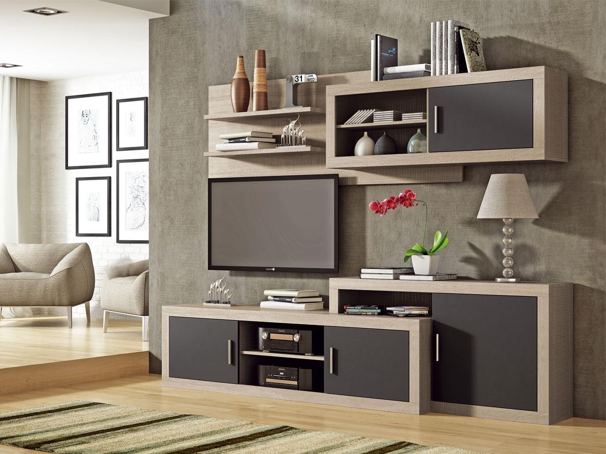 Mueble de salón comedor roble y grafito, mobiliario salón 280 cms