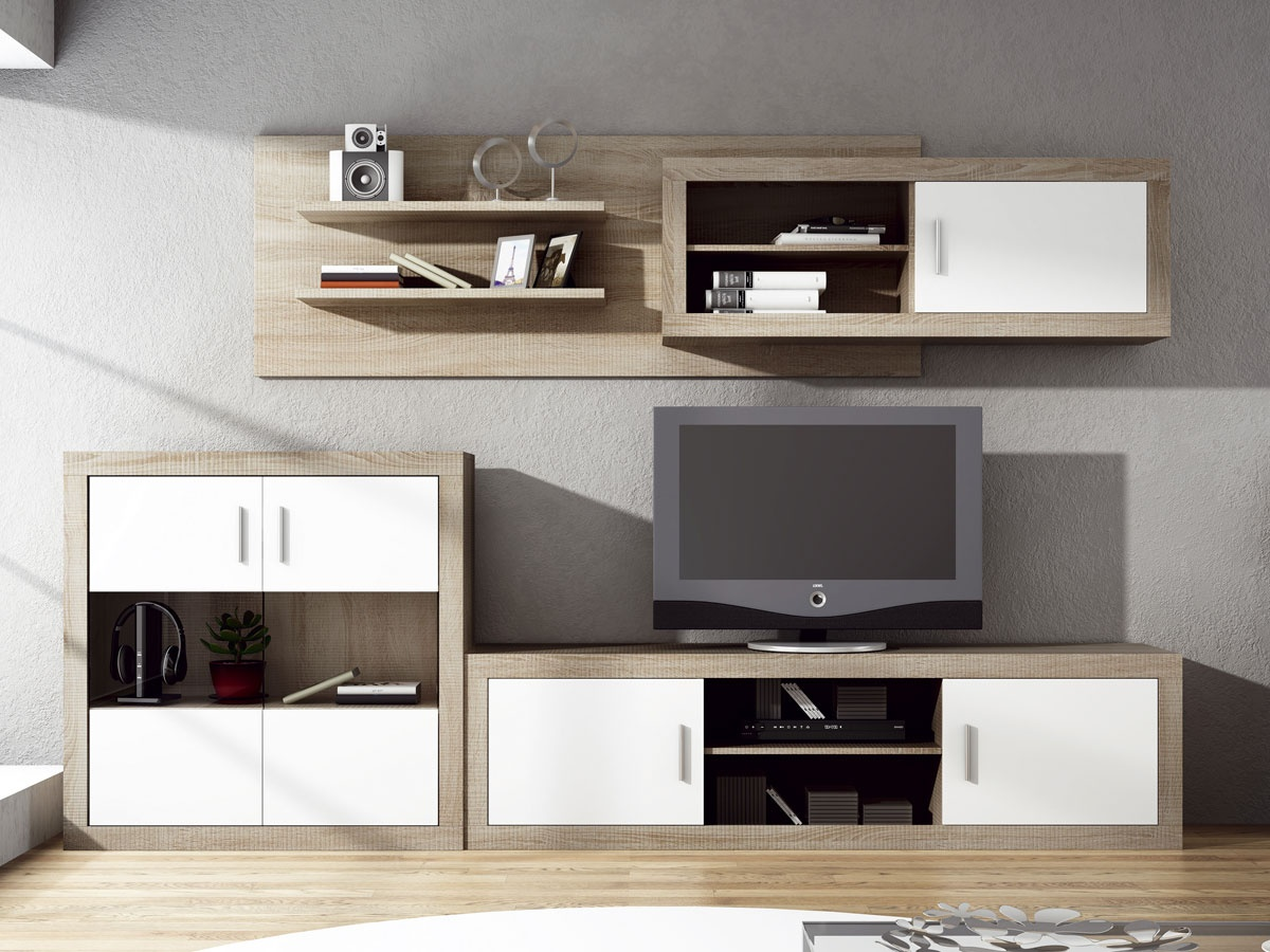 Mueble apilable de comedor moderno bajo con cuatro puertas for Muebles modulares modernos