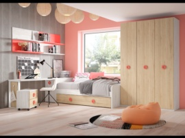 Dormitorio juvenil con armario de 3 puertas.