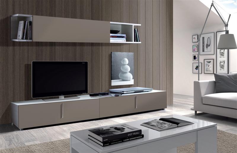 Mueble de sal n espacios reducidos mueble blanco de sal n for Muebles modulares madera
