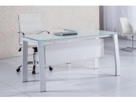 Mesa de despacho de cristal templado con ala lateral