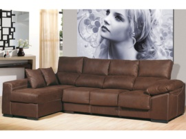 Sofá chaise longue de 4 plazas color chocolate