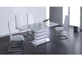 Mesa de comedor extensible con cristal templado