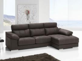 Sofá chaise longue con asientos deslizantes y arcón lateral