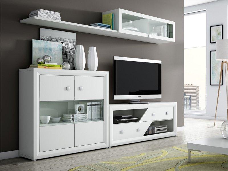 mueble para salon blanco, conjunto muebles de salon, mueble para tv ...