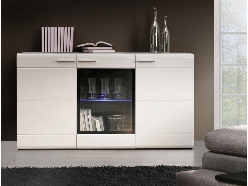 mueble buffet de sal n color blanco alto brillo con