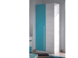 Armario dos puertas con puerta turquesa