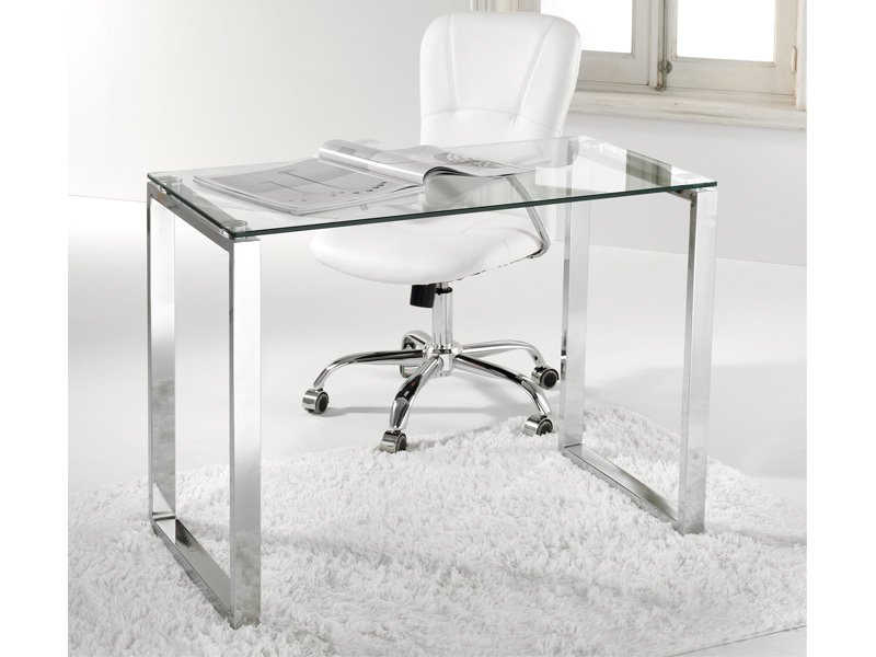 escritorio recto de cristal y patas cromadas