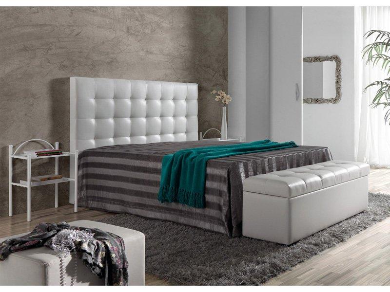 cabezal cama en polipiel cabecero tapizado en color blanco