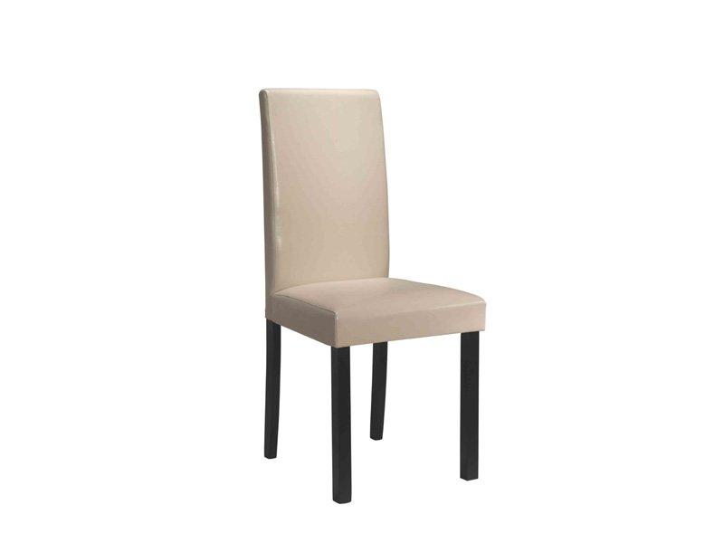 Silla de cuero para comedor en beige, silla de diseño salón madera