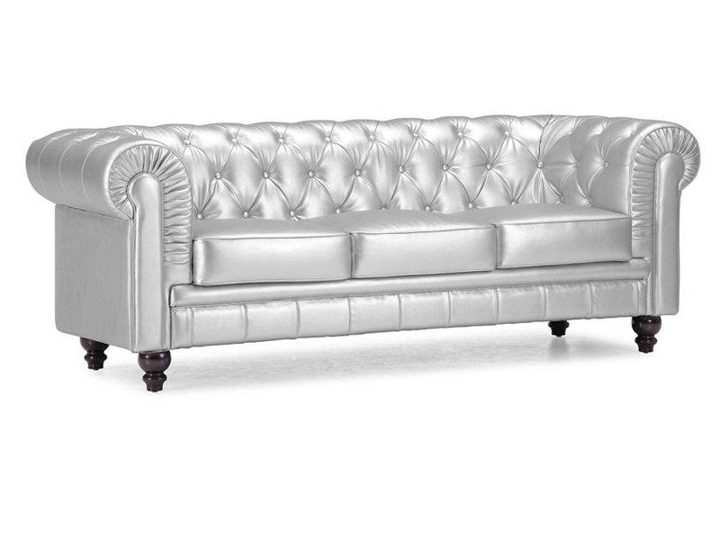 Sof ingl s plateado sof s chester de piel sint tica 3 plazas for Sofa tipo chester barato