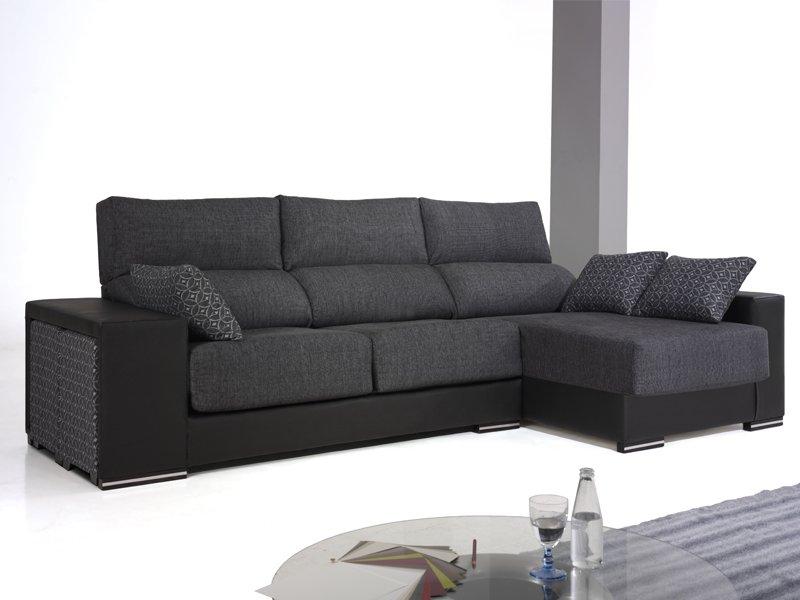Sofá con arc³n y chaise longue puffs lateral y asiento deslizante