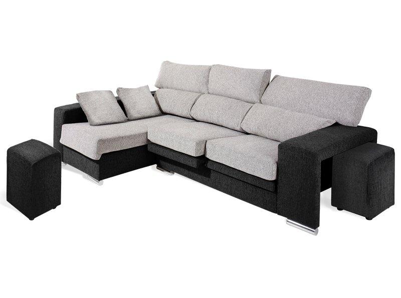 Sofá chaise longue asientos deslizantes sofá abatible con poufs