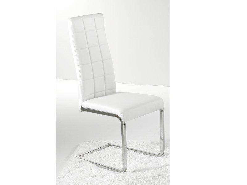 Silla comedor tapizada silla moderna met lica en color crudo for Sillas tapizadas comedor
