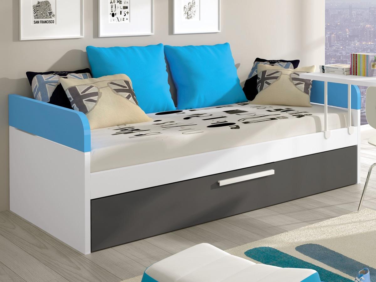 Cama nido infantil doble con estructura en roble y crudo for Precio cama nido doble con cajones
