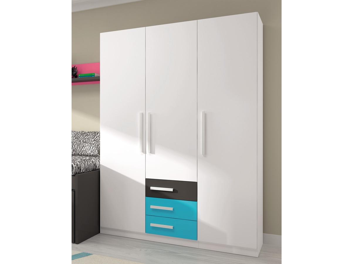 Armario alto juvenil con 3 puertas y 2 cajones de distinto for Armarios altos para dormitorio