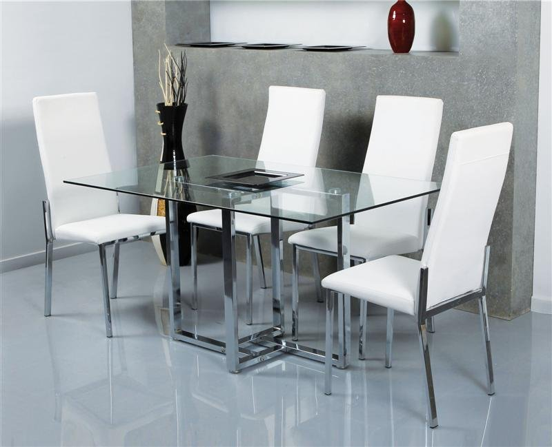 Conjunto con mesa de cristal y sillas tapizadas estructura for Mesas de salon de cristal