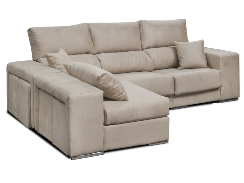 Sofá con chaise longue indepen nte y 4 pouffs laterales en oferta
