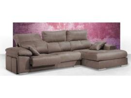 Sofá de diseño con amplia chaisselongue y 2 pouffs