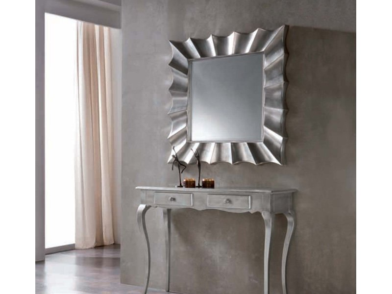 Espejo vintage plateado espejo cuadrado con marco color plata for Espejos decorativos plateados