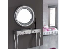 Muebles auxiliares baratos banquetas mesitas y espejos for Espejo redondo plateado