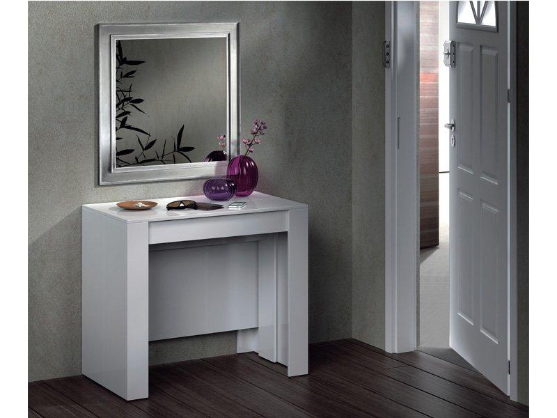 Mesa recibidor tipo consola en blanco, extensible para comedor