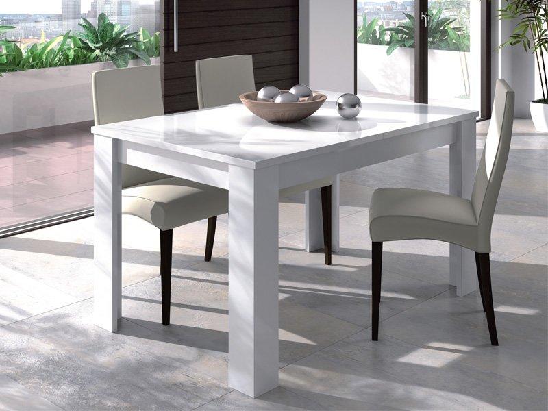 Mesa de salón extensible blanco con apertura central 165 x 76,5 x 85