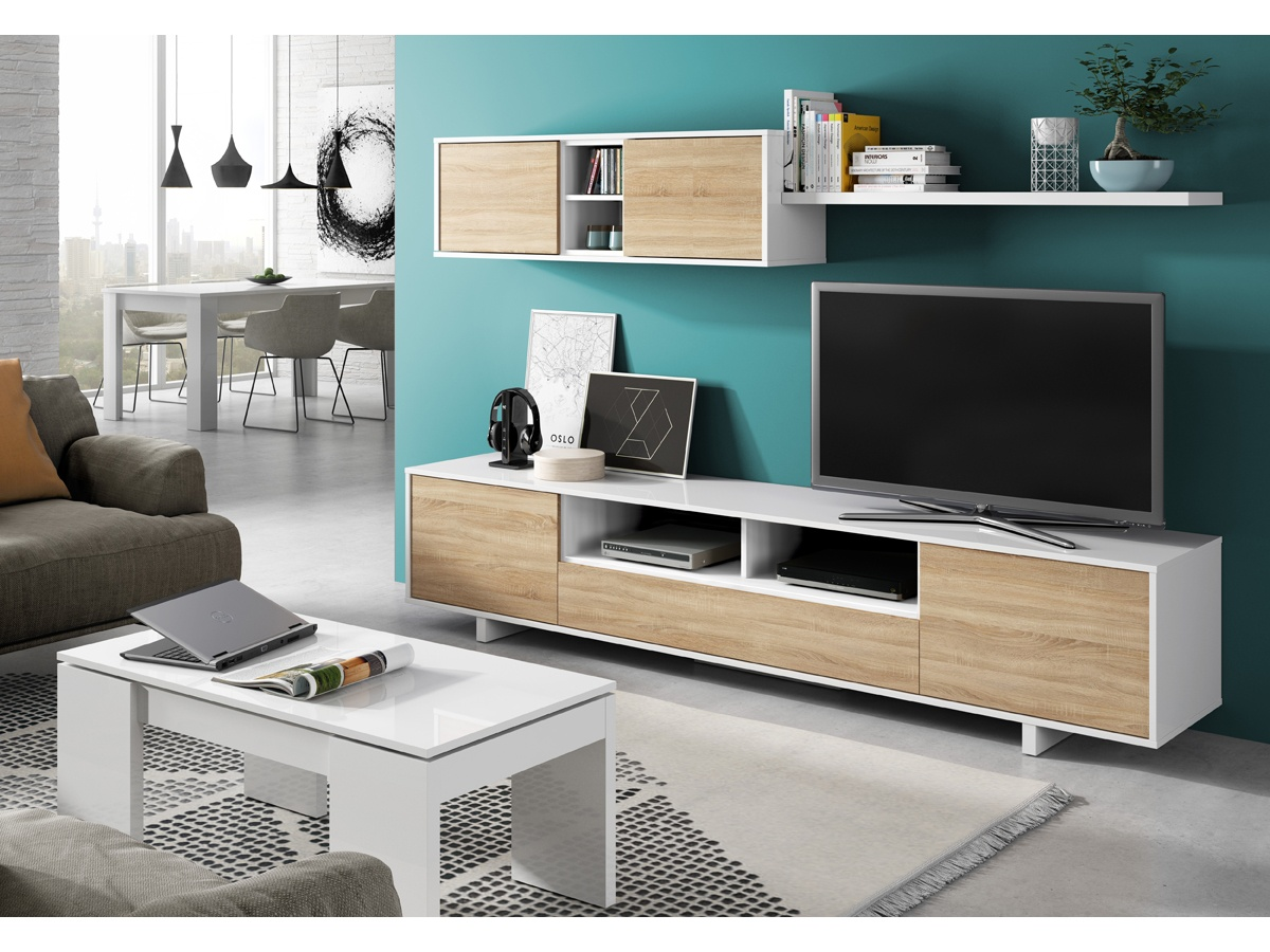 Mueble de salón espacios reducidos, mueble blanco de salón modular