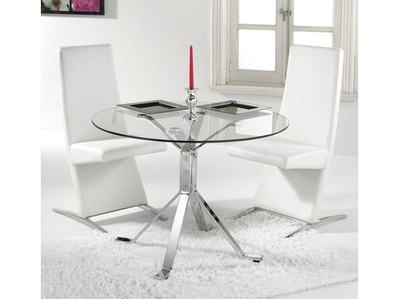 Mesa de cristal transparente redonda de cocina o centro de salón